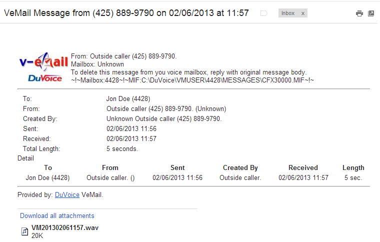VeMail Message Sample